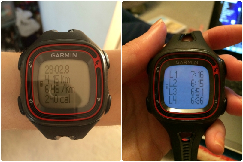 Garmin - time, distance and splits!