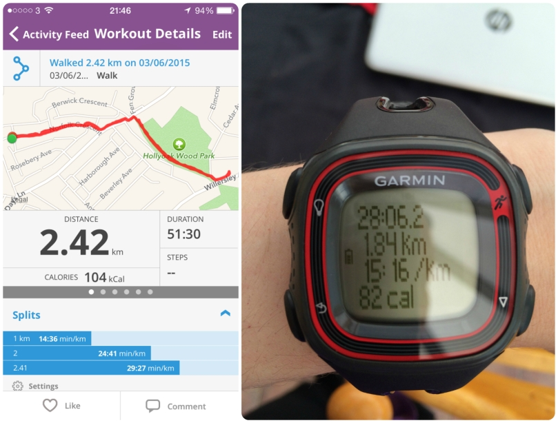 It was a slow walk - the MapMyRun is the more accurate... poor Garmin!!!